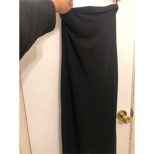 F21 black midi strapless dress